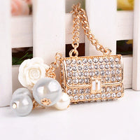 Gold Bling Handbag Purse Rhinestone Charm Pearls White Flower Flatback Alloy Cabochon Decoden DIY Phone Case Charm Kawaii TDK-B1042