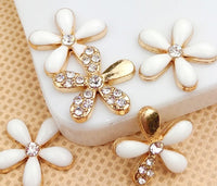 Set of 5 White & Gold Rhinestone Flowers Bling Alloy Cabochons Flatback Cell Phone Charms (TDK-B1047.2)