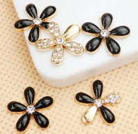 Set of 5 Black & Gold Rhinestone Flowers Bling Alloy Cabochons Flatback Cell Phone Charms (TDK-B1047.1)