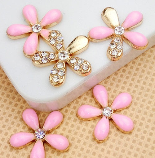 Set of 5 Pink & Gold Rhinestone Flowers Bling Alloy Cabochons Flatback Cell Phone Charms (TDK-B1047)