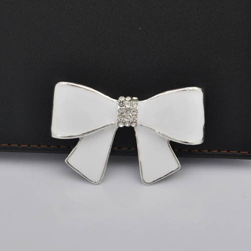 WHITE Bow Silver Rhinestones Bling Cabochon Alloy Metal Decoden