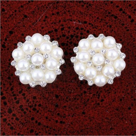 10x Alloy Rhinestone Pearl Flower Buttons Embellishment for DIY Jewelry 22mm