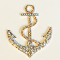 Anchor Clear Rhinestones Gold Plated Setting Alloy Metal DIY Pendant Charm