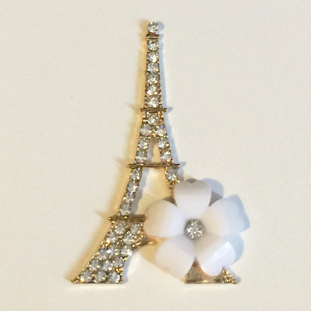 Large Eiffel Tower with White Rose Rhinestones Bling Cabochon Alloy Metal Decoden DIY Phone Case Charm Kawaii TDK-B1127