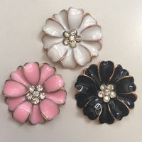 2 Piece 35mm Pink Flower Rhinestone Gold Center Alloy Flatback Cell Phone Bling TDK-B1289