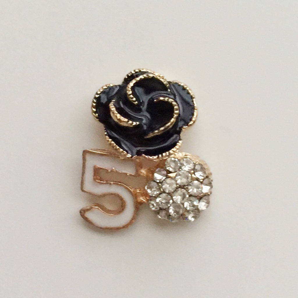 2 Piece Black Flower White #5 Rhinestones Gold Setting Bling Alloy Flatback Cabochons (TDK-B1215)