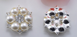 2 Piece Ivory Pearl Crystal Rhinestone Flower Flatback Button in a Silver Setting Bling Alloy Wedding Cabochons (TDK-B1278)