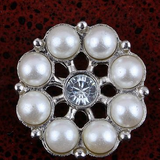 White Pearl Crystal Rhinestone Flower Flatback Button in a Silver Setting Bling Alloy Wedding Cabochons