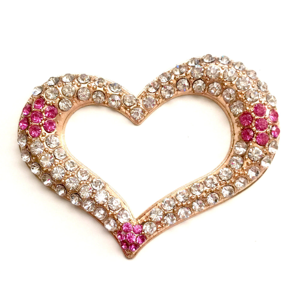 1 Piece Large Heart Flatback Rhinestone Gold Decoden Alloy Bling Cabochon DIY Phone Case Charm Accessories TDK-B1212