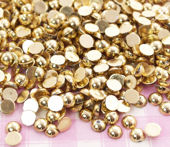 2-10mm Mixed Gold Metallic Resin Round Flat Back Loose Pearls