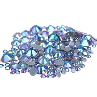 Mixed Tanzanite AB Glass Round Flat Back Loose HOTFIX Rhinestones - 400pcs