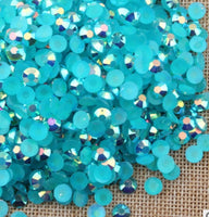 4mm Teal AB Jelly Resin Round Flat Back Loose Rhinestones
