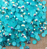 3mm Dark Aquamarine AB Jelly Resin Round Flat Back Loose Rhinestones