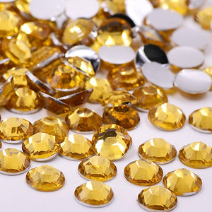 5mm Topaz Gold Resin Round Flat Back Loose Rhinestones
