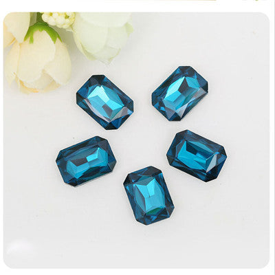 10x14mm Dark Aqua Glass Emerald Pointback Chatons Rhinestones - 10pcs