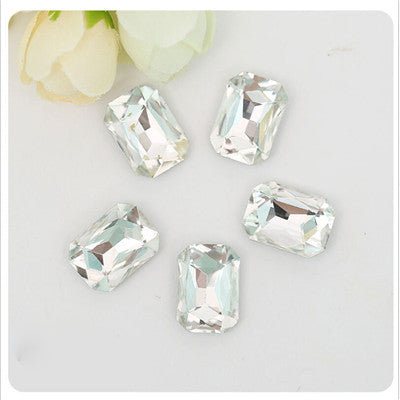 10x14mm Clear Glass Emerald Pointback Chatons Rhinestones - 10pcs