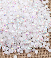 4mm White AB Jelly Resin Round Flat Back Loose Rhinestones