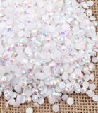 2mm White AB Jelly Resin Round Flat Back Loose Rhinestones