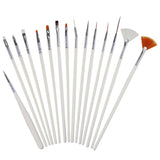15 Pieces Nail Art Brush Set, Nail Crafts, Painting, Drawing, Dotting, Polish Brush, Fan Brush, Manicure Tools, Nail Polish Brushes