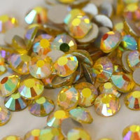 ss3/1mm Citrine AB Glass Round Flat Back Loose Rhinestones - 1440pcs
