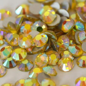 SS6/2mm Citrine AB Glass Round Flat Back Loose Rhinestones - 1440pcs