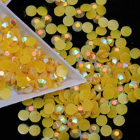 3mm Yellow AB Jelly Resin Round Flat Back Loose Rhinestones