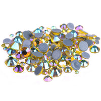 Mixed Jonquil Light Yellow AB Glass Round Flat Back Loose HOTFIX Rhinestones - 400pcs