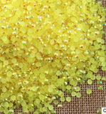 5mm Bright Yellow AB Jelly Resin Round Flat Back Loose Rhinestones