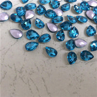 13x18mm Aqua Glass Teardrop Pointback Chatons Rhinestones - 10pcs