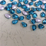 10x14mm Aqua Glass Teardrop Pointback Chatons Rhinestones - 10pcs