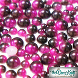3mm Fuchsia and Dark Coffee Ombre Mermaid Gradient Resin Round Flat Back Loose Pearls