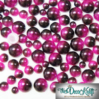 4mm Fuchsia and Dark Coffee Ombre Mermaid Gradient Resin Round Flat Back Loose Pearls