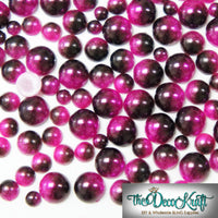 3-6mm Fuchsia and Black Ombre Mermaid Gradient Resin Round Flat Back Loose Pearls - 1000pcs