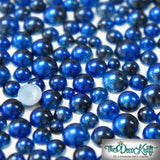 3-6mm Royal Blue and Black Ombre Mermaid Gradient Resin Round Flat Back Loose Pearls - 1000pcs