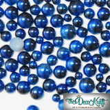 6mm Royal Blue and Black Ombre Mermaid Gradient Resin Round Flat Back Loose Pearls