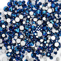 SS12/3mm Blue Hematite (Mine Blue) Glass Round Flat Back Loose Rhinestones - 1440pcs