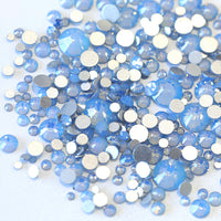 SS30/6mm Blue Opal Glass Round Flat Back Loose Rhinestones - 288pcs