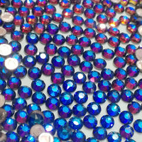 SS30/6mm Blue Rainbow Glass Round Flat Back Loose Rhinestones - 288pcs