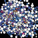 SS16/4mm Blue Rainbow Glass Round Flat Back Loose Rhinestones - 1440pcs
