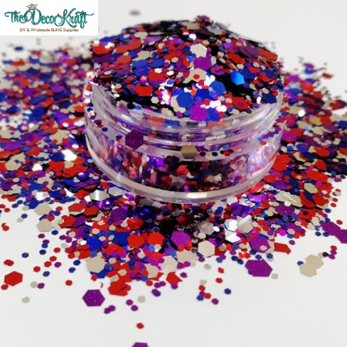 Firecracker Mixed Chunky Glitter, Polyester Glitter for Tumblers Nail Art Bling Shoes - 1oz/30g