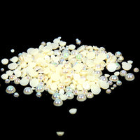 8mm Champagne AB Resin Round Flat Back Loose Pearls - 500pcs