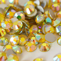 SS12/3mm Citrine AB Glass Round Flat Back Loose Rhinestones - 1440pcs