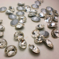 10x14mm Clear Glass Oval Pointback Chatons Rhinestones - 10pcs
