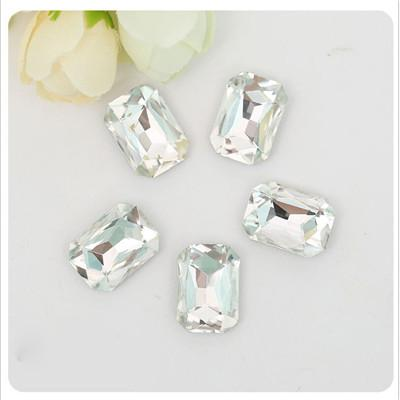 18x25mm Clear Glass Emerald Pointback Chatons Rhinestones - 5pcs