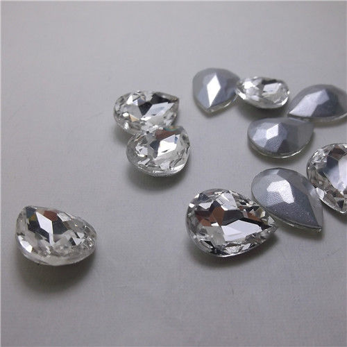 18x25mm Clear Glass Teardrop Pointback Chatons Rhinestones - 5pcs