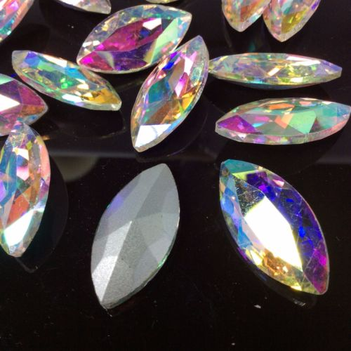 9x18mm Clear AB Glass Marquis Pointback Chatons Rhinestones - 10pcs