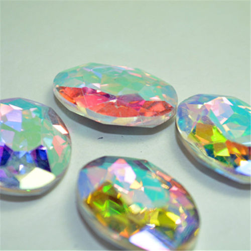 18x25mm Clear AB Glass Oval Pointback Chatons Rhinestones - 5pcs