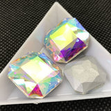 23mm Clear AB Glass Square Pointback Chatons Rhinestones - 5pcs
