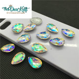 18x25mm Clear AB Glass Teardrop Pointback Chatons Rhinestones - 5pcs