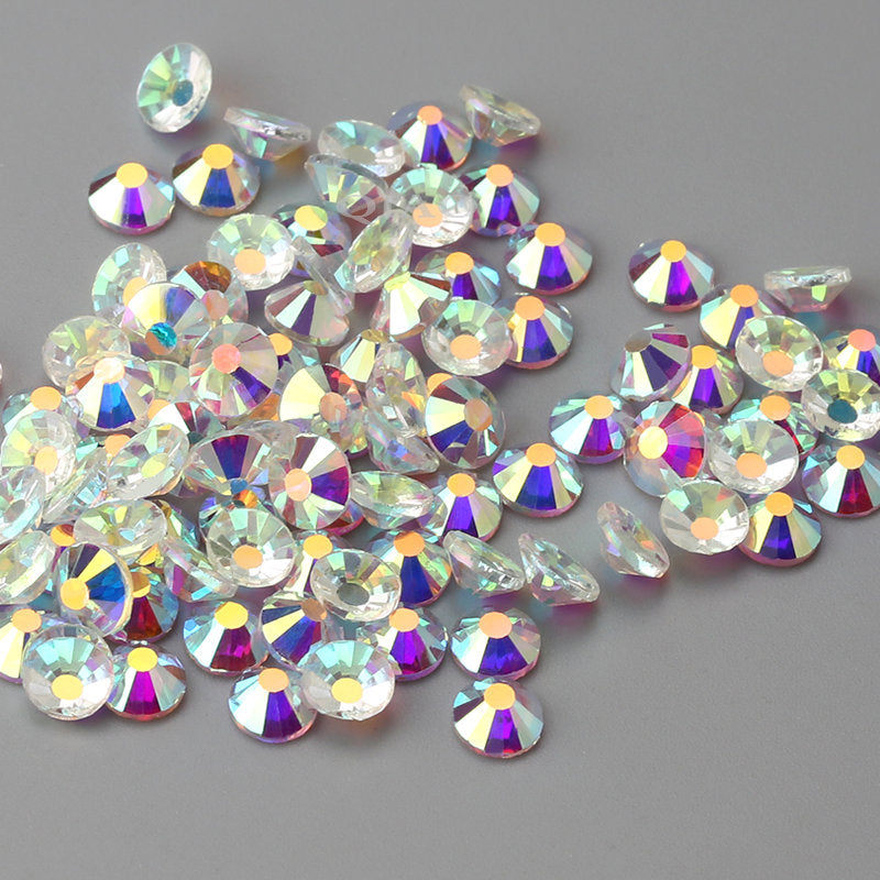 SS6/2mm Clear AB Transparent Glass Round Flat Back Loose Rhinestones - 1440pcs
